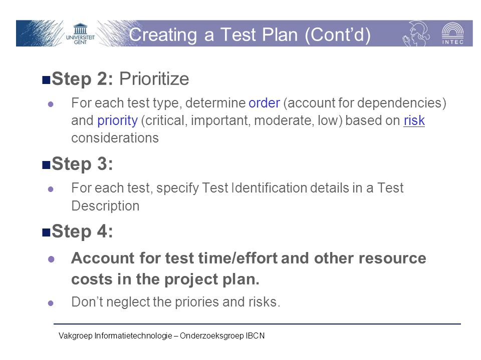 Creating a Test Plan (Cont'd)