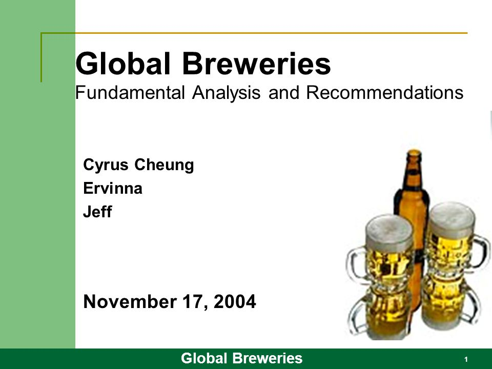 Global Breweries Fundamental Analysis and Recommendations