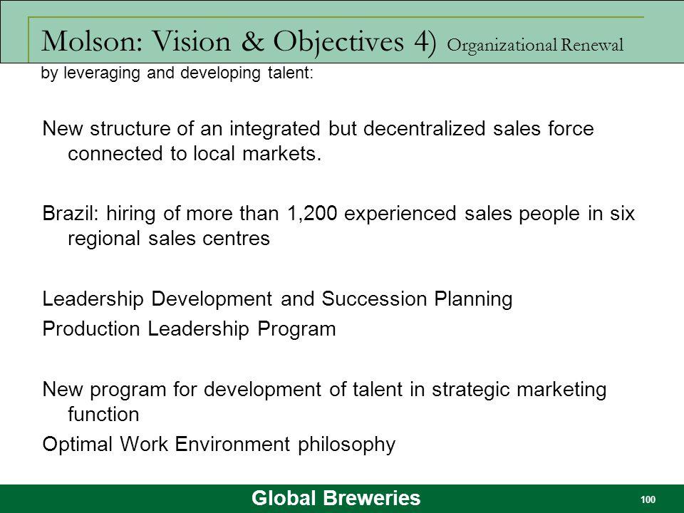 Molson: Vision & Objectives 4) Organizational Renewal