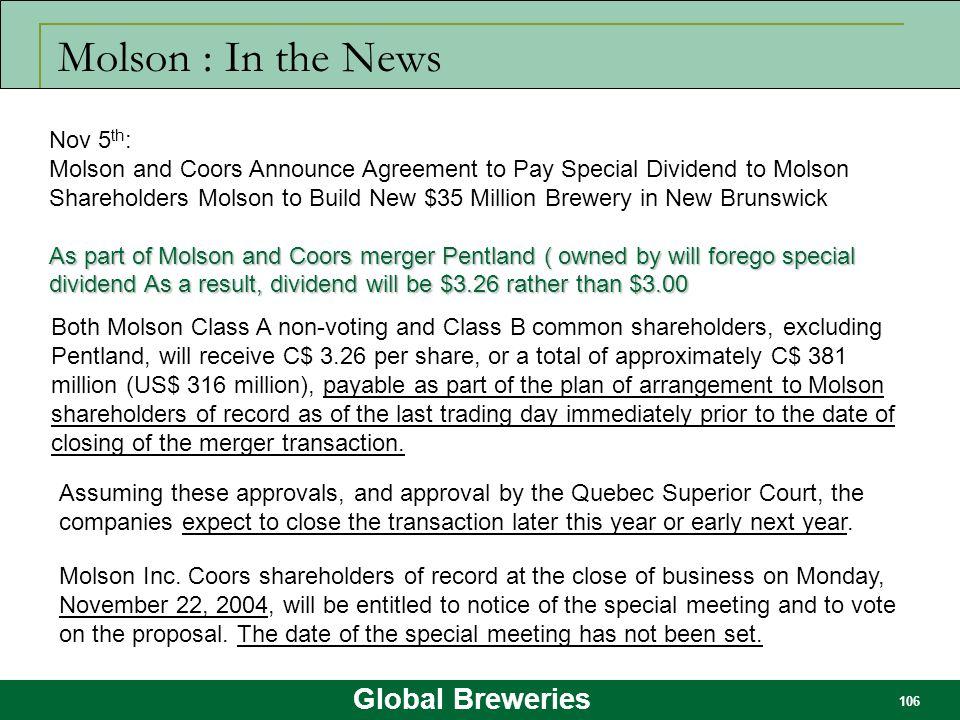 Molson : In the News Nov 5th: