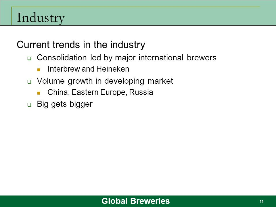 Industry Current trends in the industry