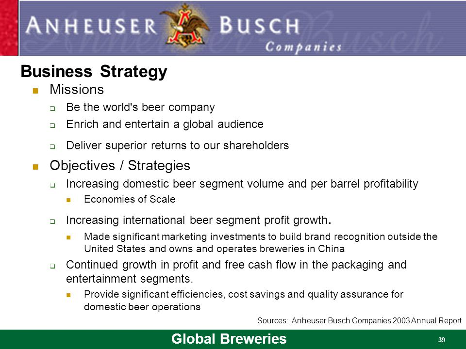 anheuser busch global marketing strategy paper Anheuser-bush inbev anheuser-busch inbev case study - may 2011 wwwananet | procurement were present alongside marketing for the whole of the process including chemistry meetings global marketing connections vice president.