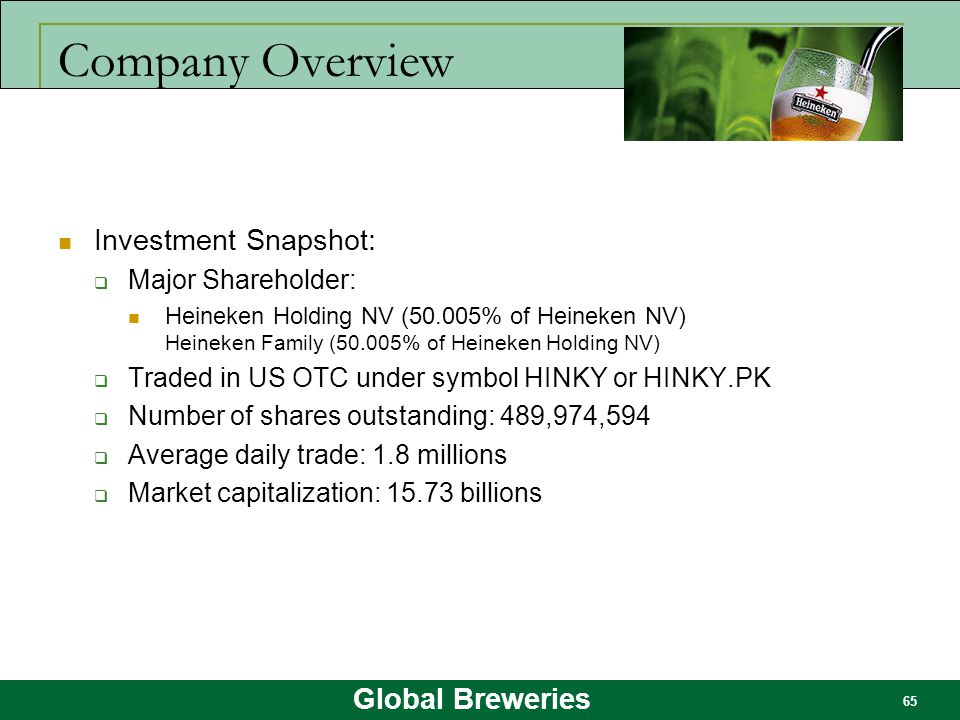 Company Overview Investment Snapshot: Major Shareholder: