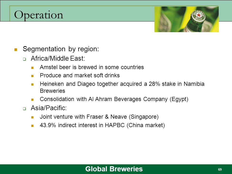 Operation Segmentation by region: Africa/Middle East: Asia/Pacific: