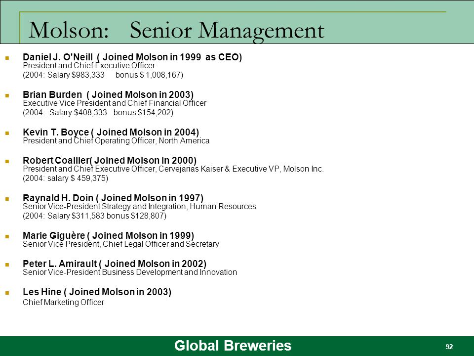 Molson: Senior Management