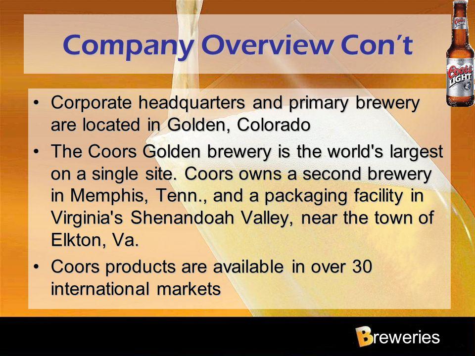 Company Overview Con't