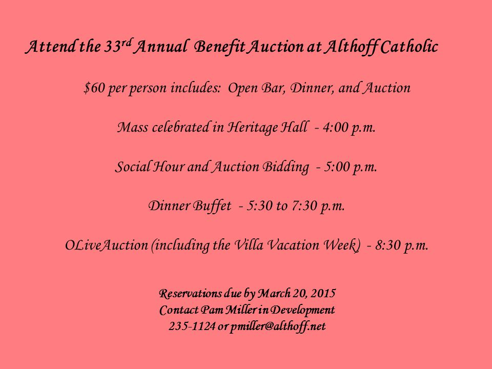 Attend the 33rd Annual Benefit Auction at Althoff Catholic