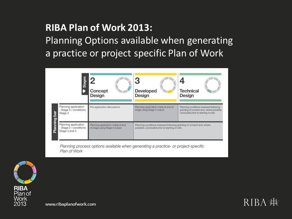 RIBA Plan of Work 2013: Planning Options available when generating a practice or project specific Plan of Work