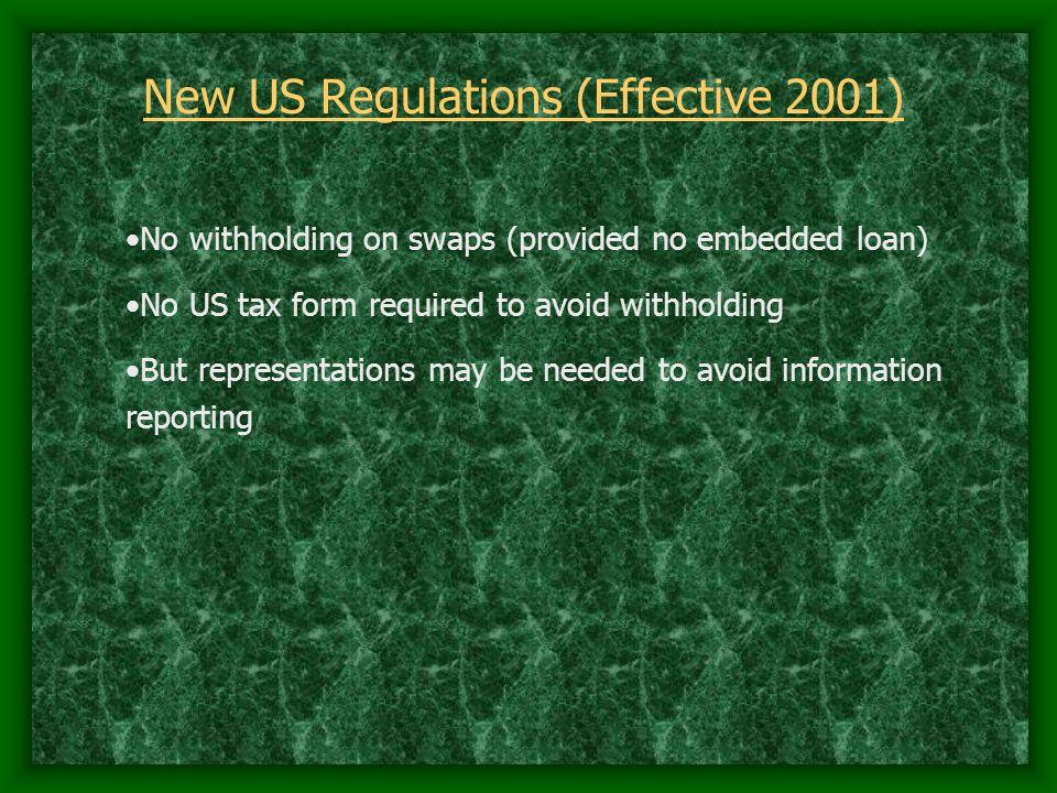 New US Regulations (Effective 2001)
