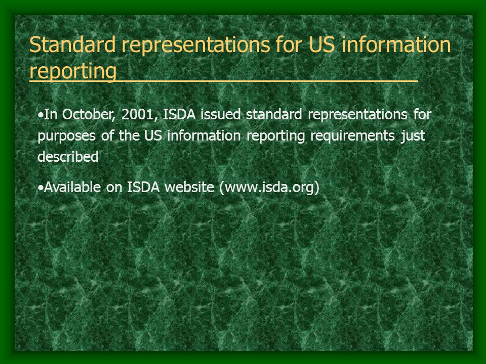 Standard representations for US information reporting