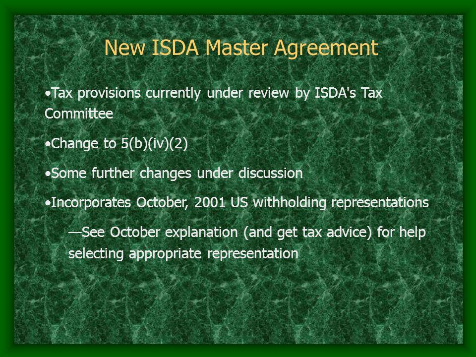 New ISDA Master Agreement