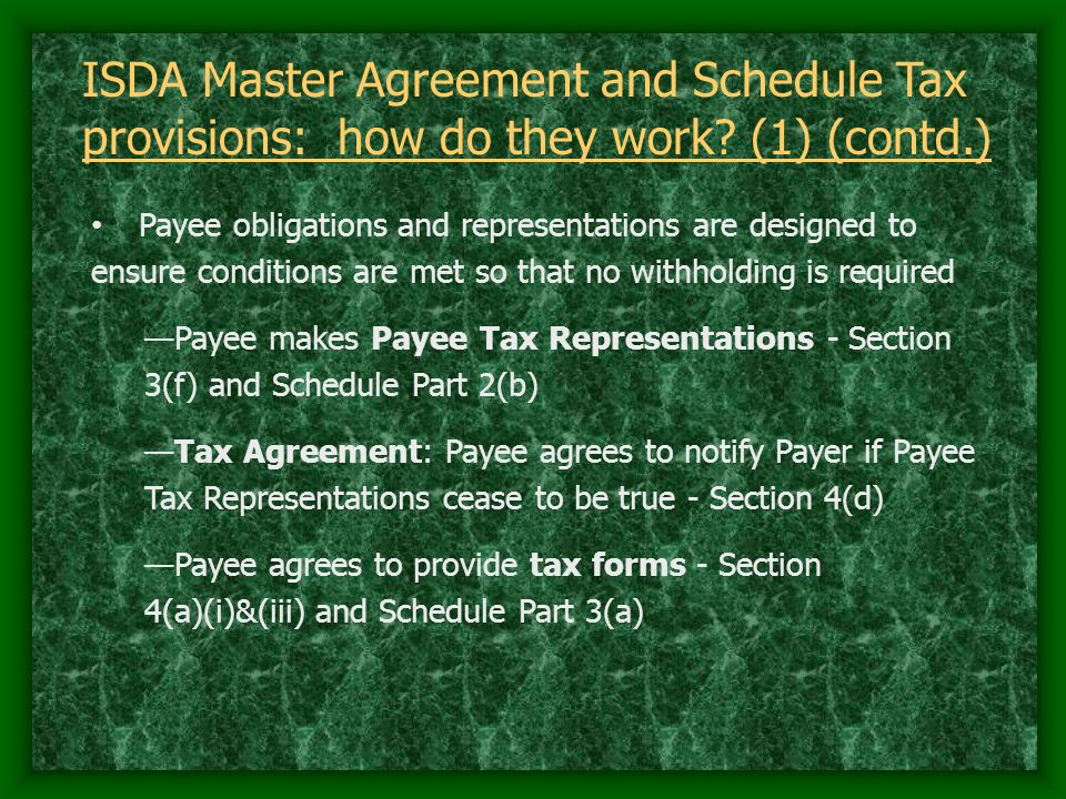 ISDA Master Agreement and Schedule Tax provisions: how do they work