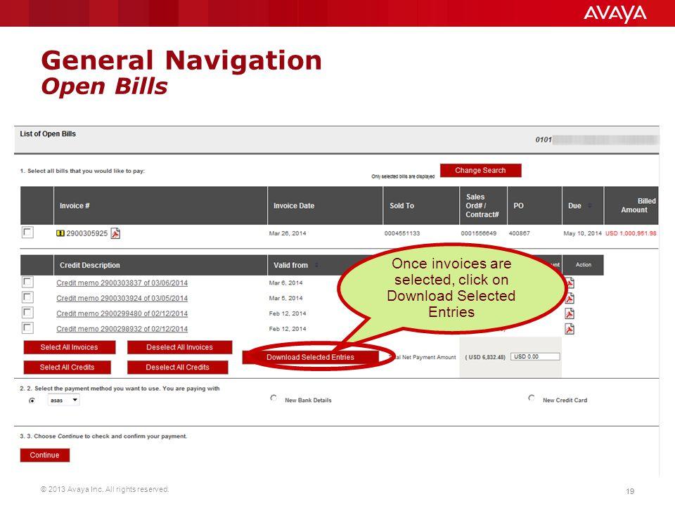 General Navigation Open Bills