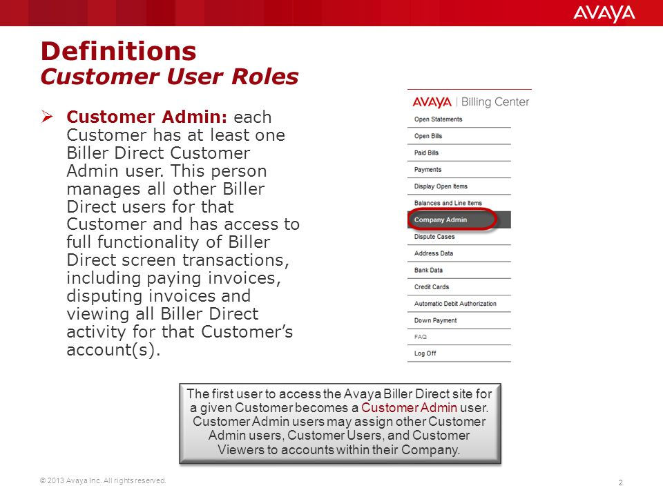 Definitions Customer User Roles