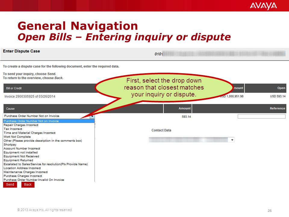 General Navigation Open Bills – Entering inquiry or dispute
