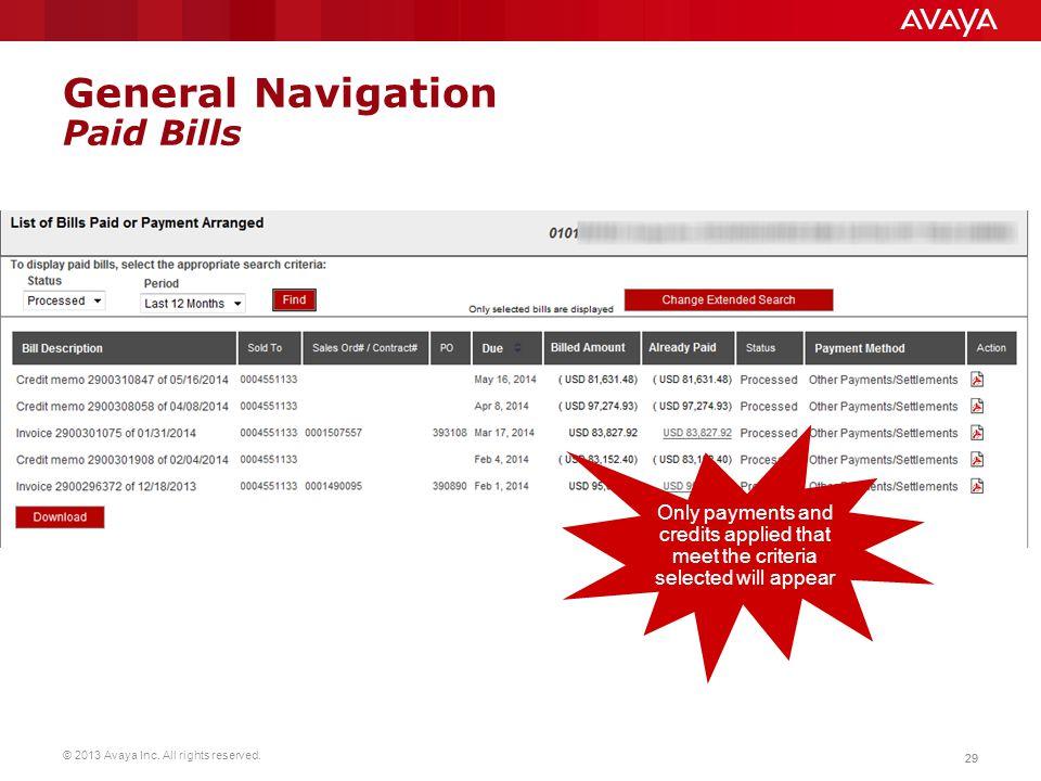 General Navigation Paid Bills