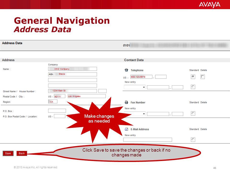 General Navigation Address Data