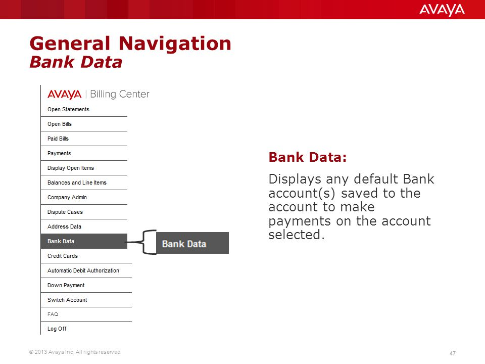 General Navigation Bank Data