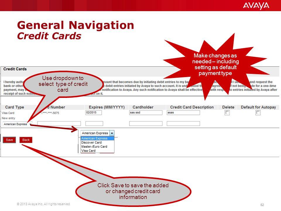 General Navigation Credit Cards