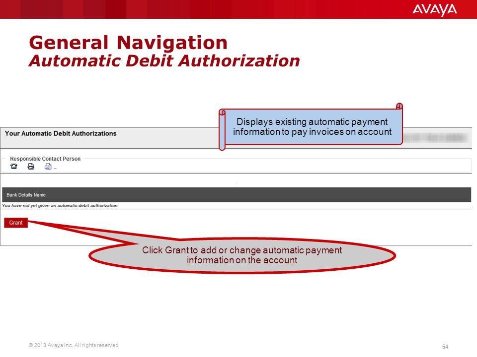 General Navigation Automatic Debit Authorization
