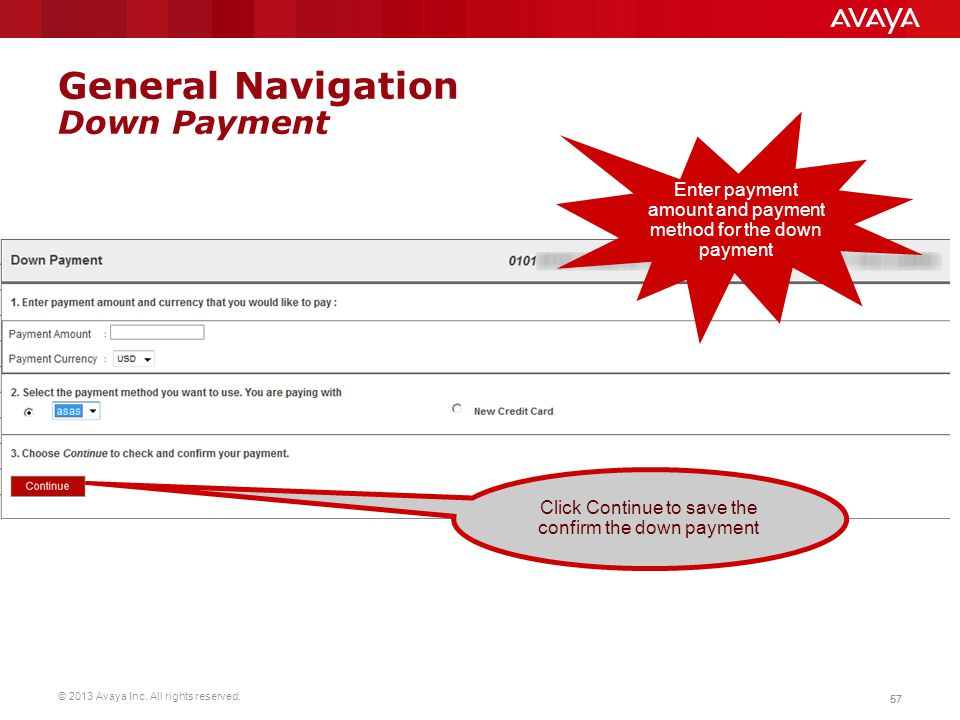 General Navigation Down Payment