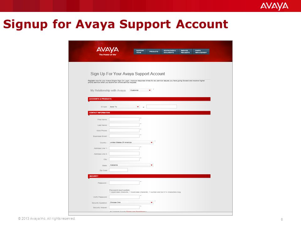 Signup for Avaya Support Account