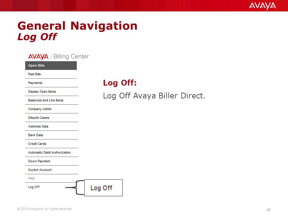 General Navigation Log Off