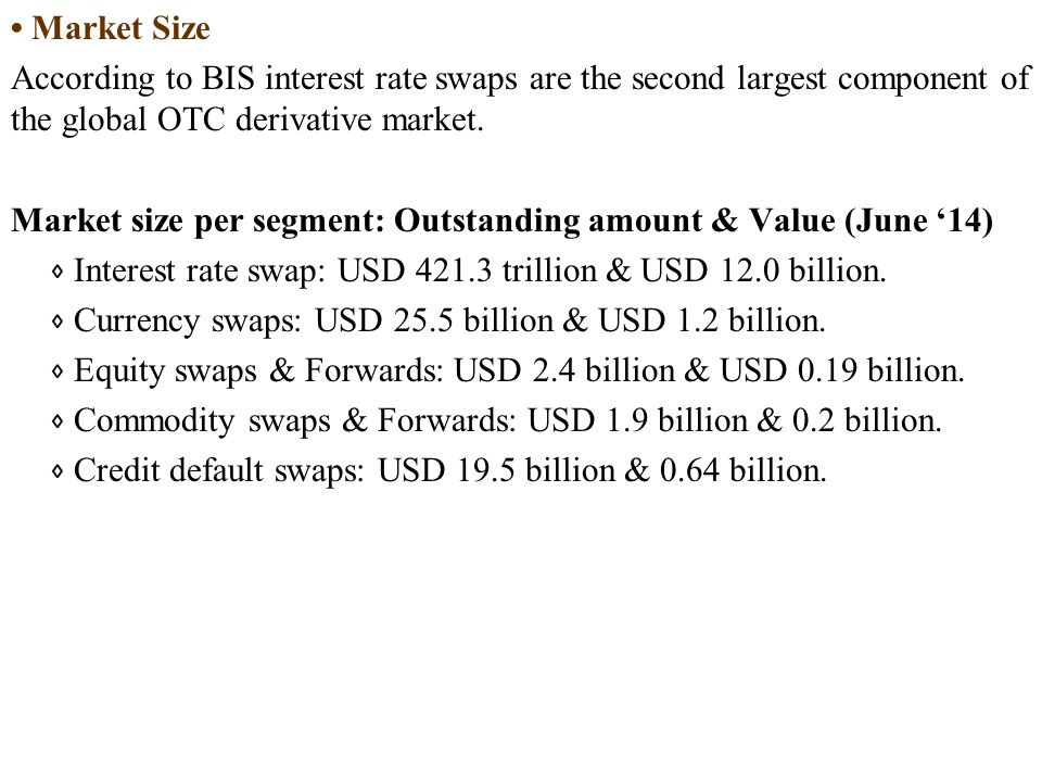 • Market Size According to BIS interest rate swaps are the second largest component of the global OTC derivative market.