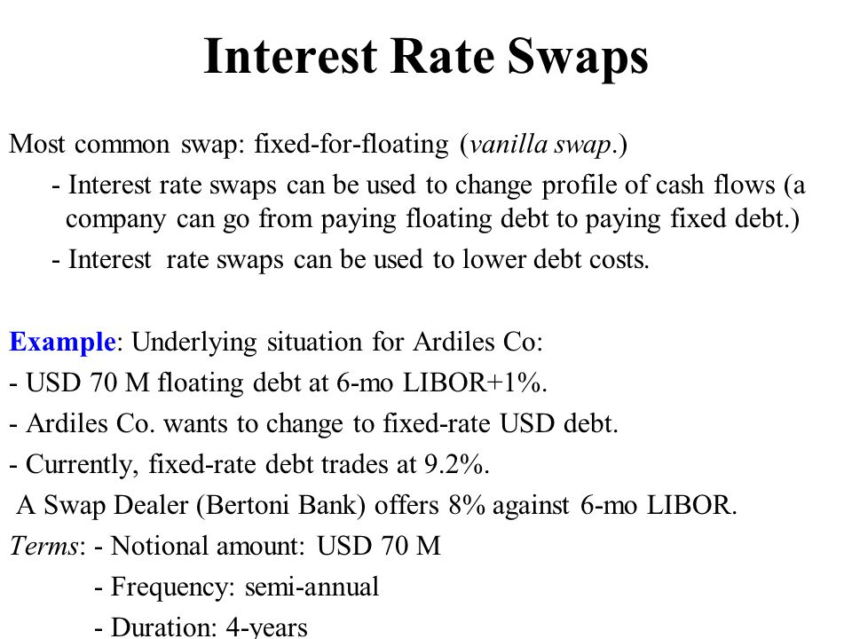 Interest Rate Swaps Most common swap: fixed-for-floating (vanilla swap.)