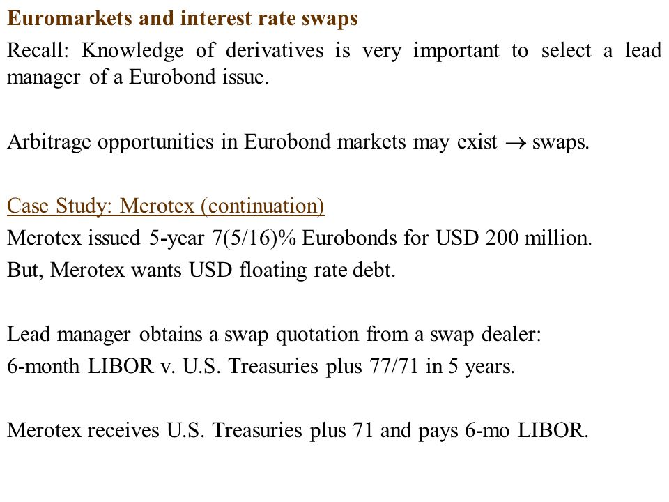 Euromarkets and interest rate swaps