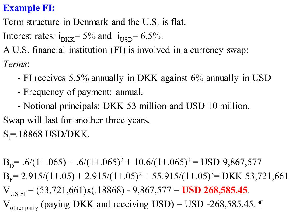 Example FI: Term structure in Denmark and the U.S. is flat. Interest rates: iDKK= 5% and iUSD= 6.5%.