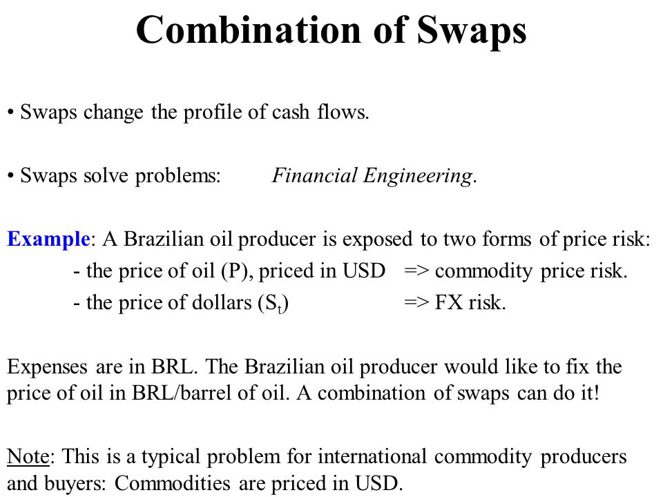 Combination of Swaps • Swaps change the profile of cash flows.