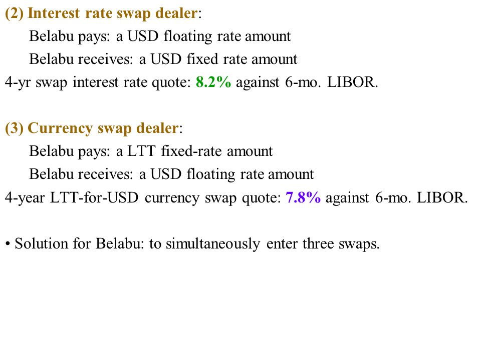 (2) Interest rate swap dealer: