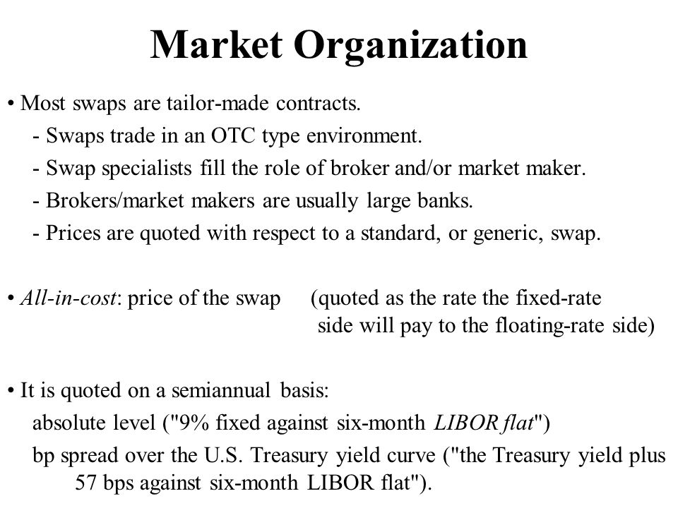 Market Organization • Most swaps are tailor-made contracts.