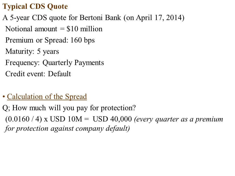 Typical CDS Quote A 5-year CDS quote for Bertoni Bank (on April 17, 2014) Notional amount = $10 million.