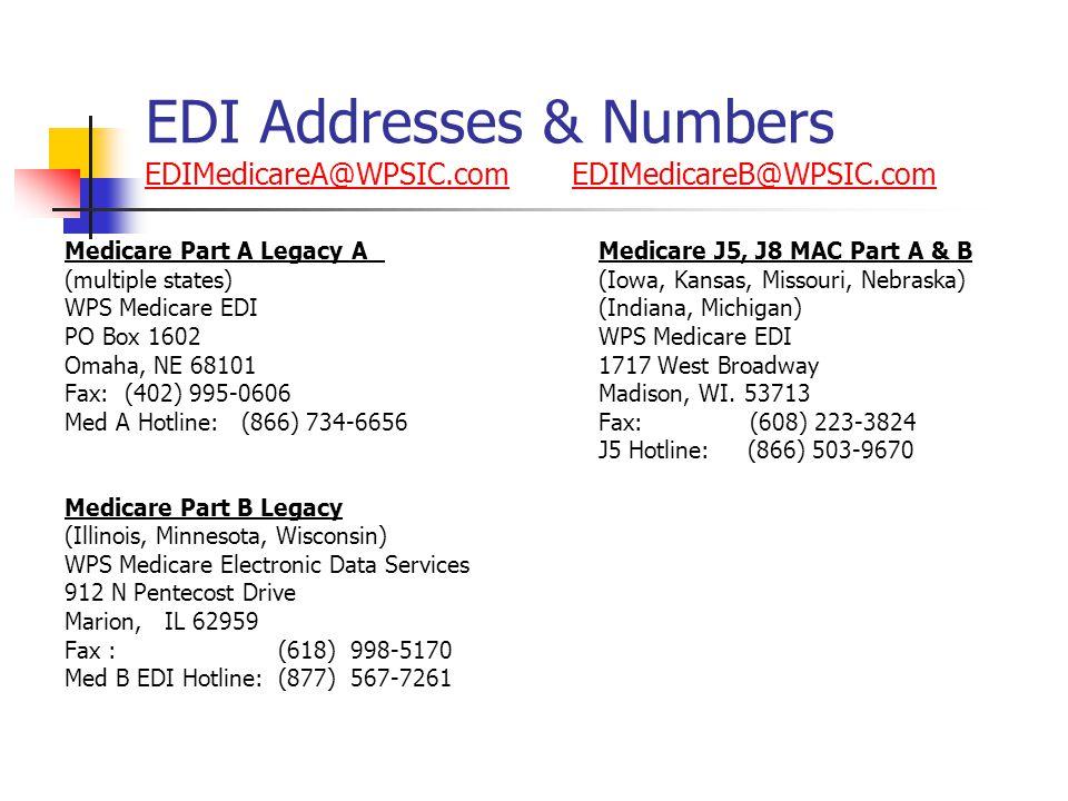 EDI Addresses & Numbers EDIMedicareA@WPSIC.com EDIMedicareB@WPSIC.com