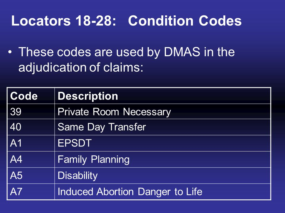 Locators 18-28: Condition Codes