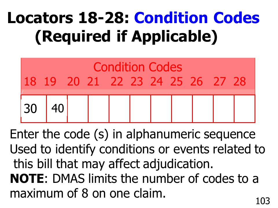 Locators 18-28: Condition Codes (Required if Applicable)