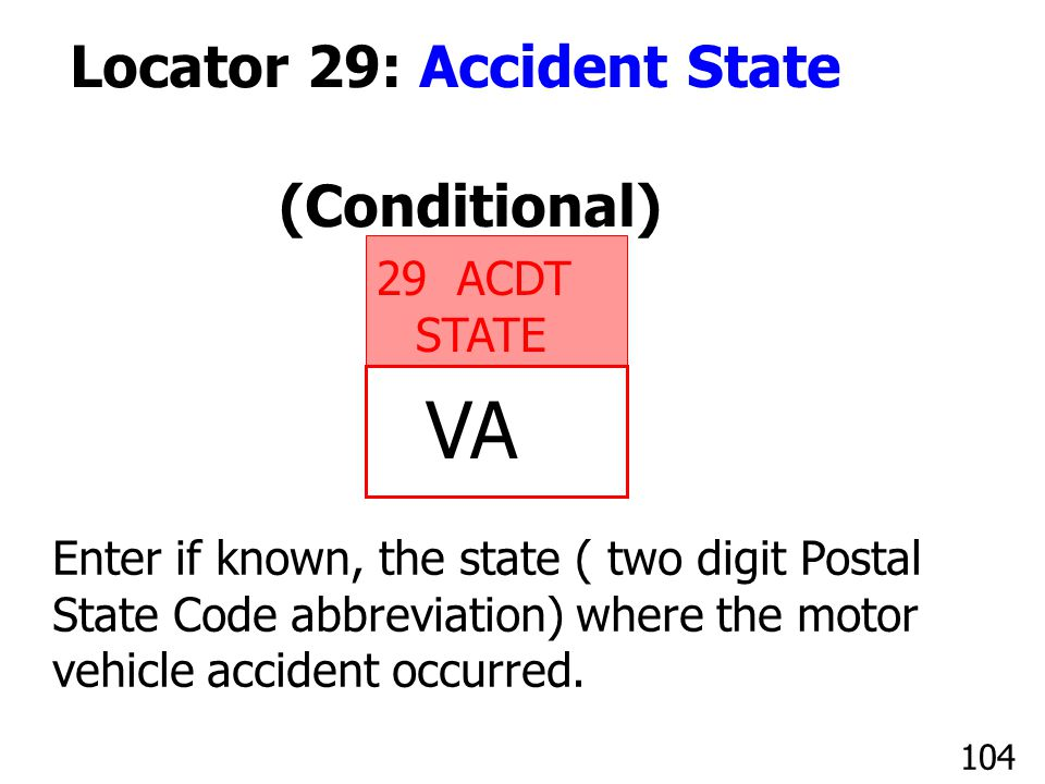 VA Locator 29: Accident State (Conditional) ACDT STATE