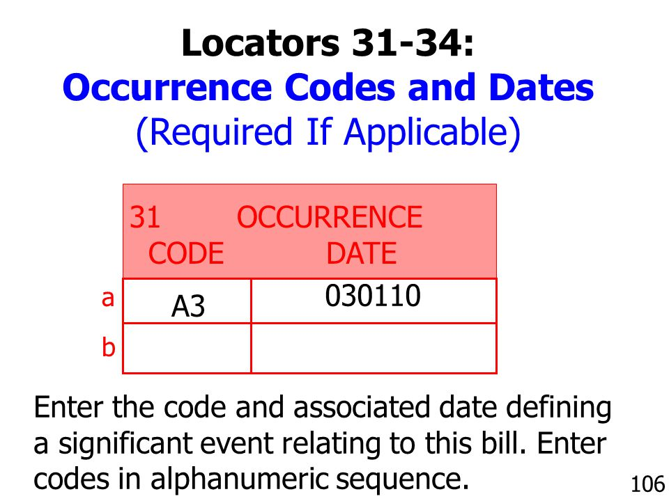 Occurrence Codes and Dates