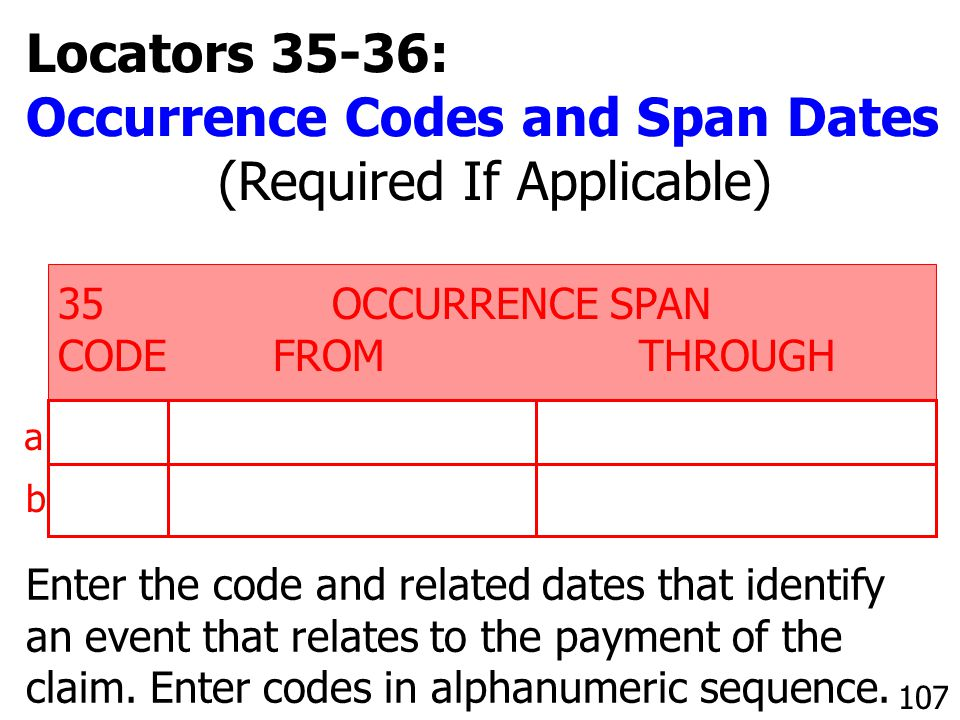 Occurrence Codes and Span Dates (Required If Applicable)