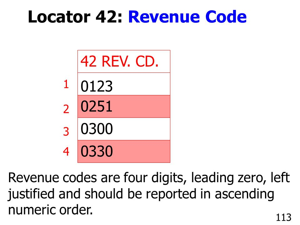 Locator 42: Revenue Code 42 REV. CD. 0123 0251 0300 0330