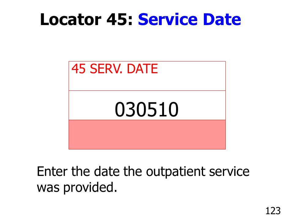 030510 Locator 45: Service Date 45 SERV. DATE