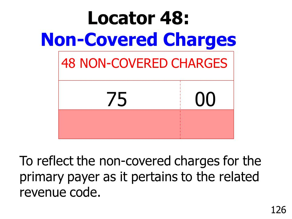 75 00 Locator 48: Non-Covered Charges 48 NON-COVERED CHARGES