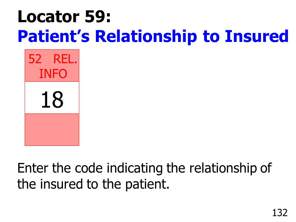 18 Locator 59: Patient's Relationship to Insured