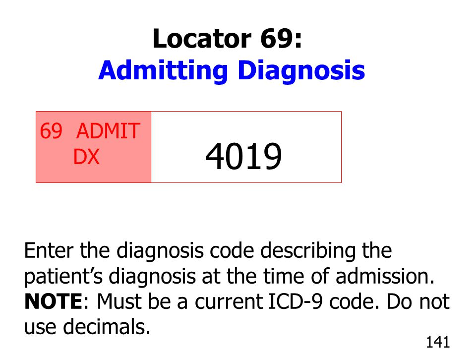 4019 Locator 69: Admitting Diagnosis ADMIT DX