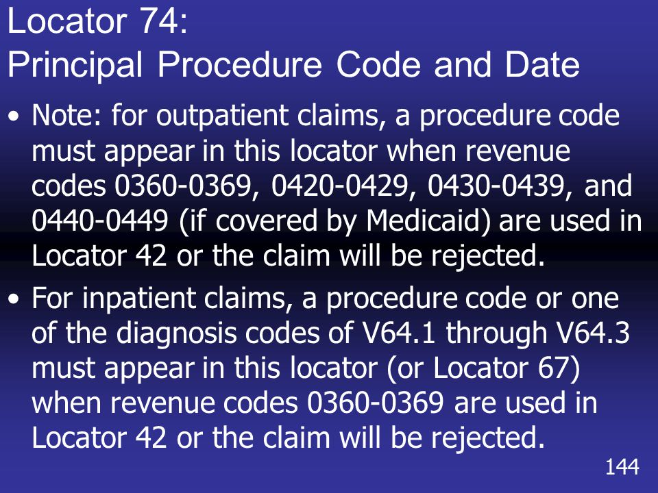 Locator 74: Principal Procedure Code and Date