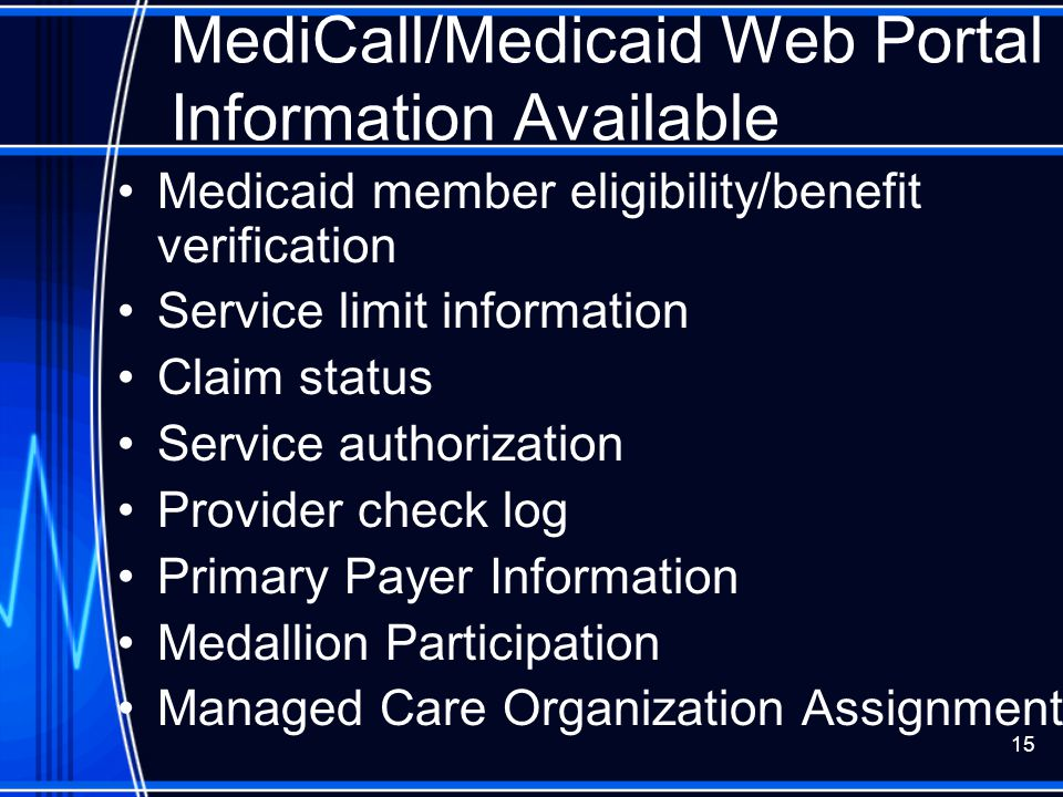 MediCall/Medicaid Web Portal Information Available