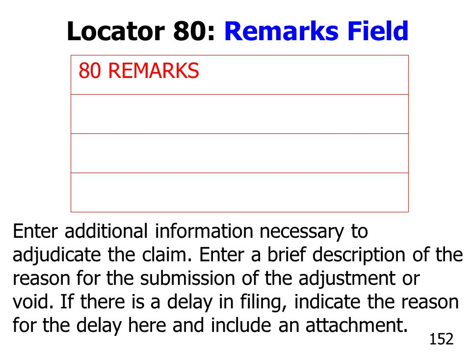 Locator 80: Remarks Field