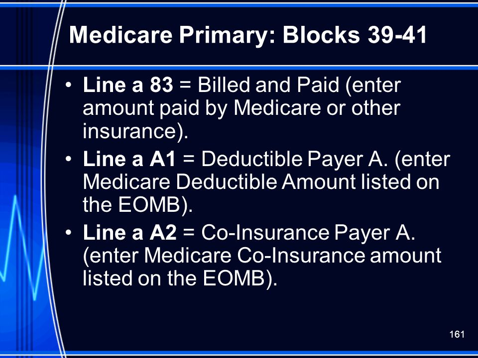 Medicare Primary: Blocks 39-41